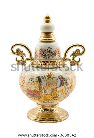 Small greek gold plated amphora for perfume. With clipping path.