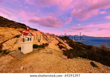 Small Greek Orthodox Chapel on The Island of Rhodes, Sunset - stock photo