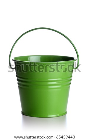 small green bucket isolated on white background - stock photo