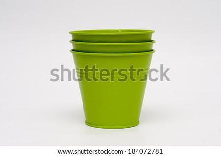 Small green buckets  - stock photo