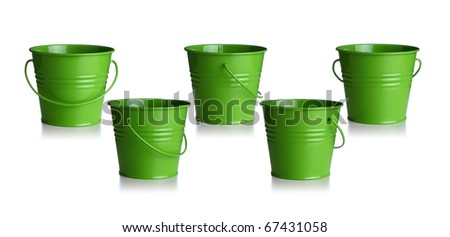 small green buckets isolated on white background - stock photo
