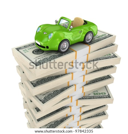 Small green car on a big pack of dollars.Isolated on white background.3d rendered. - stock photo