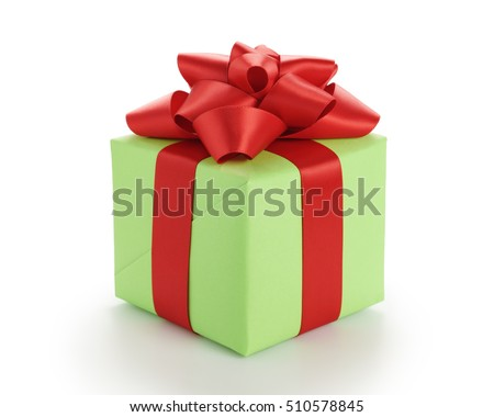 small green gift box with red ribbon bow isolated on white