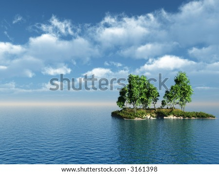 Small green island with birch trees - 3d illustration. - stock photo