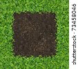 Small green plants depend soil manure a square frame. - stock photo