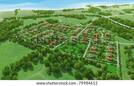 Small green village from above. 3d rendering. - stock photo