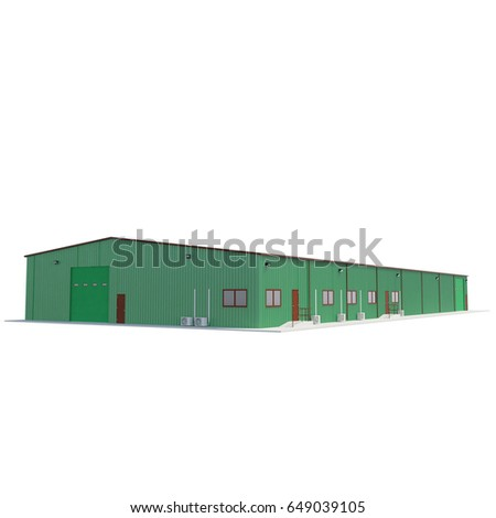 Small green warehouse building on white. 3D illustration