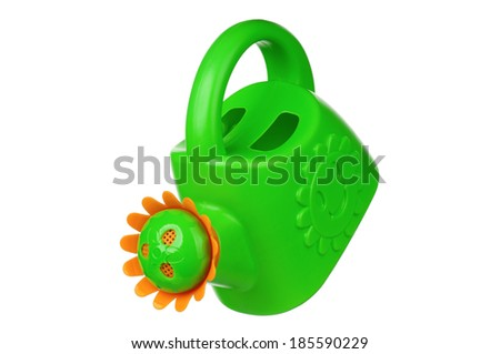 Small green watering can isolated on white background - stock photo