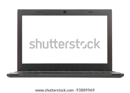 Small grey laptop with red top isolated with clipping paths over white background. Focused on screen. - stock photo