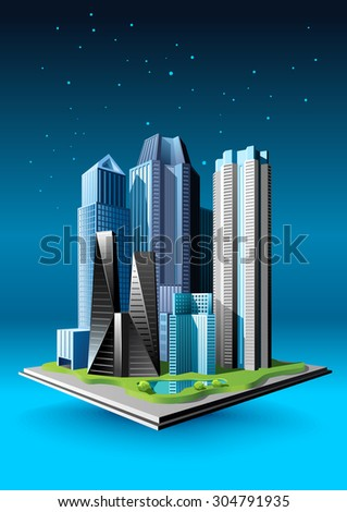 Small group of buildings on the dark abstract background