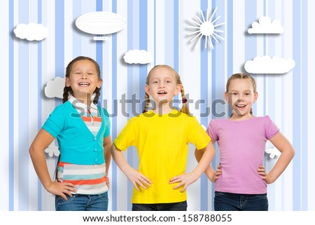 small group of girls stand in a row