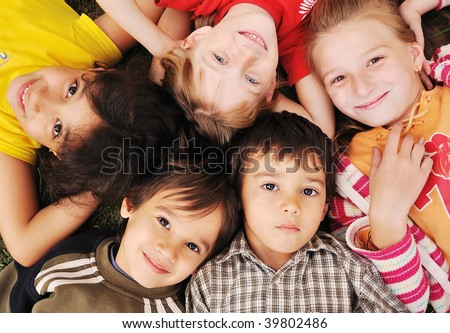Small group of happy children outdoor - stock photo