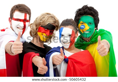 Small group of happy international football fans isolated over white - stock photo