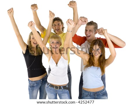 Small group of happy teenagers. Smiling and looking at camera. Hands up. White background, front view
