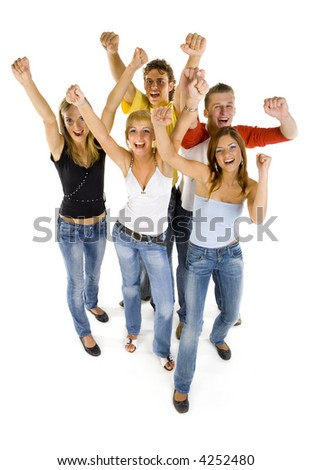 Small group of happy teenagers. Smiling and looking at camera. Hands up. White background, front view. Whole body, isolated on white in studio - stock photo
