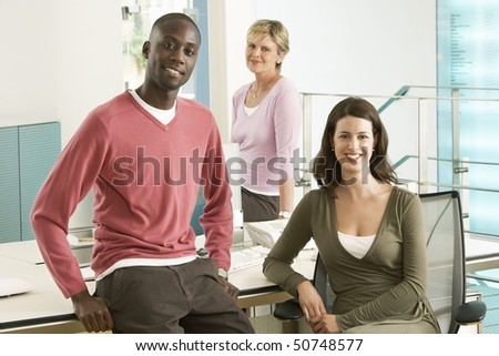 Small group of office workers, portrait - stock photo