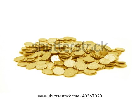 Small group of the scattered coins - stock photo
