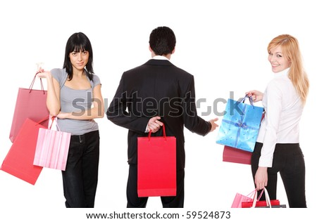 small group shopping people isolated on white background - stock photo