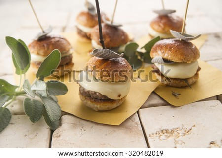Small hamburger meat and cheese with sage leaves - stock photo