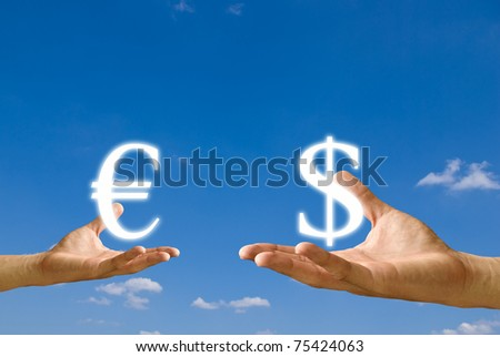 Small hand exchange Euro icon with Dollar icon from big hand, Concept - stock photo
