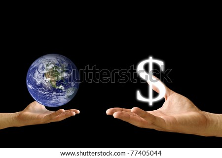 Small hand exchange the world with Dollar icon - stock photo
