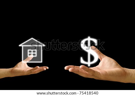 Small hand exchange with big hand, Dollar icon and House icon - stock photo