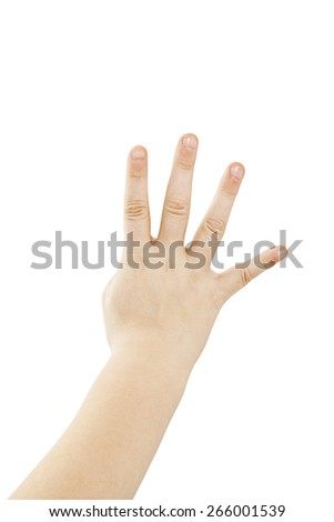 Small hand simulating showing number four sign. Isolated on white background