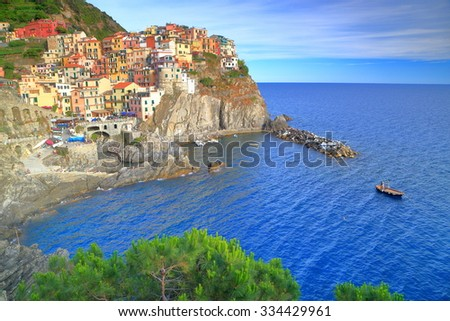 Small harbor and village of Manarola, Cinque Terre, Italy - stock photo