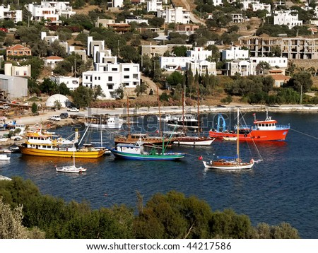 Small harbor at Yalikavak in Bodrum - Turkey - stock photo