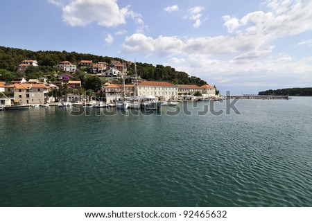 small harbor in Jelsa, Croatia - stock photo