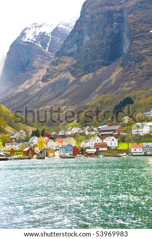 Small harbour village in Norway fjords, Scandinavia - stock photo