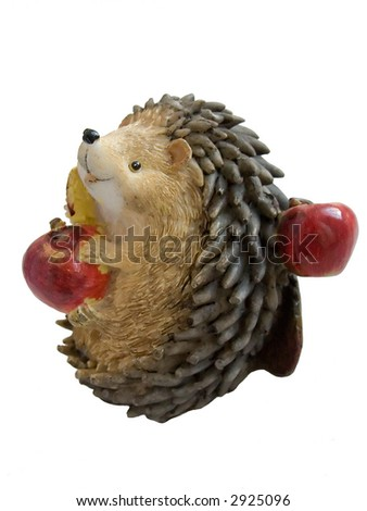 small hedgehog toy  isolated over white background - stock photo