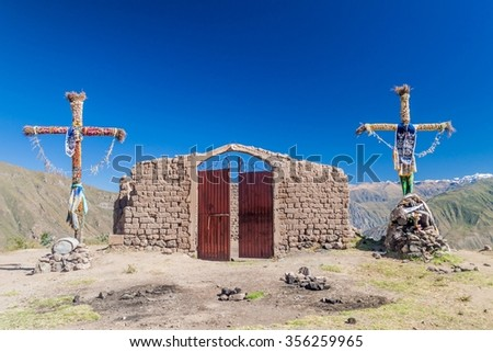 Small hillside church in Cabanaconde village, Peru - stock photo