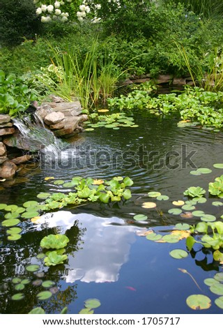 small homemade pond with reflection of the sky and clouds in the water - stock photo