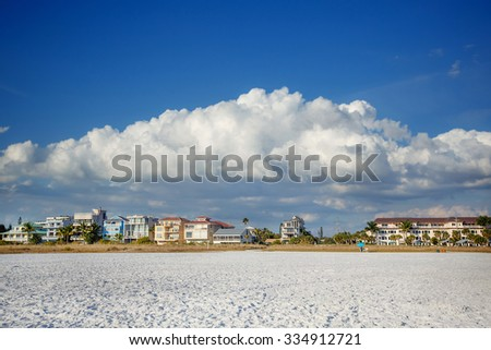 Small hotels on Lido Beach in Sarasota, Florida, on Siesta Key - stock photo