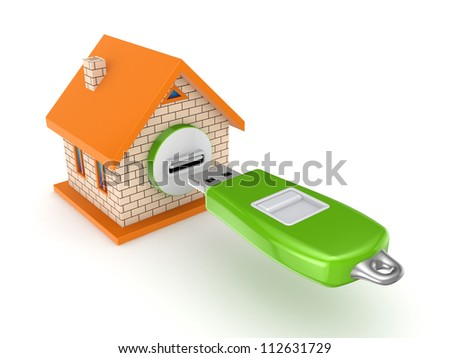 Small house and flash memory.Isolated on white background.3d rendered. - stock photo