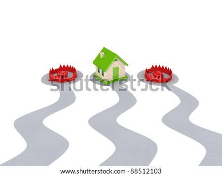 Small house and two red traps.3d rendered.Isolated on white background. - stock photo