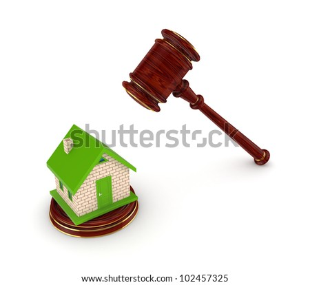 Small house and wooden hammer.Isolated on white background.3d rendered. - stock photo