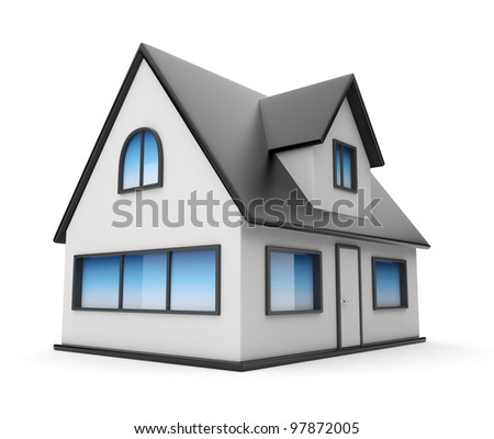 Small house. Icon 3D. Isolated on white background - stock photo