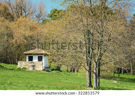 Small House in the Garden at Spring - stock photo