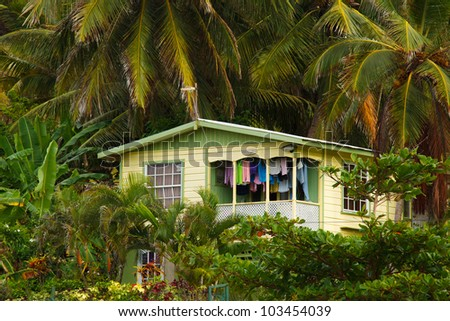 small house in tropical forest - stock photo