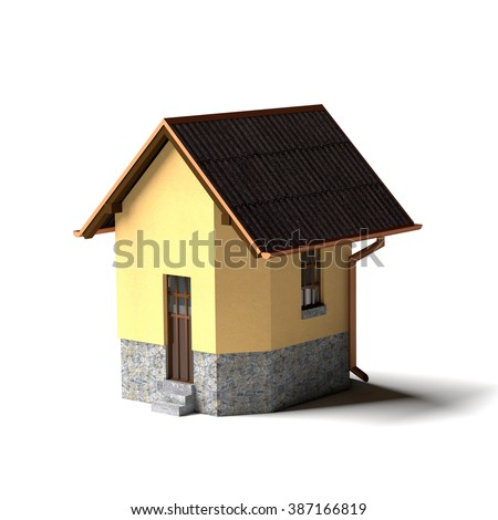 Small house isolated on the white. Rendered image - stock photo