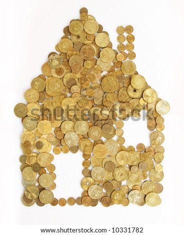 small house made out of gold coins