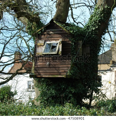 Small house on a tree - stock photo