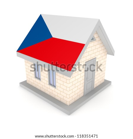 Small house with a flag of Czech Republic on a roof.Isolated on white background.3d rendered.