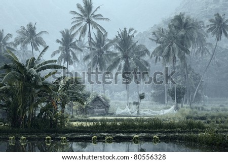Small house with fishing net in tropical forest near pond - stock photo
