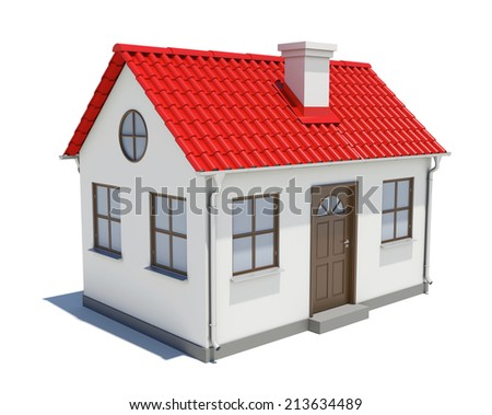 Small house with red roof - stock photo