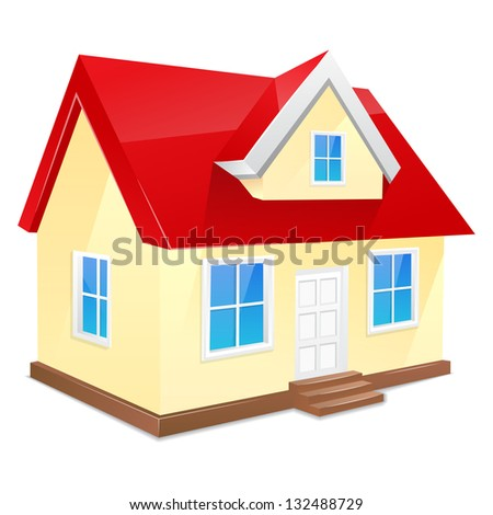 Small house with red roof. Isolated on a white