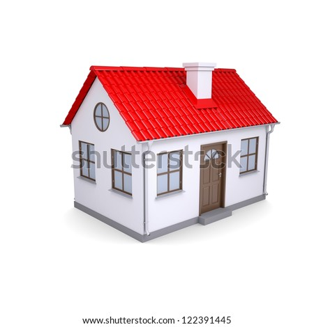 Small house with red roof. Isolated render on a white background