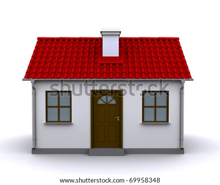 small house with red roof on a white background, front view - stock photo